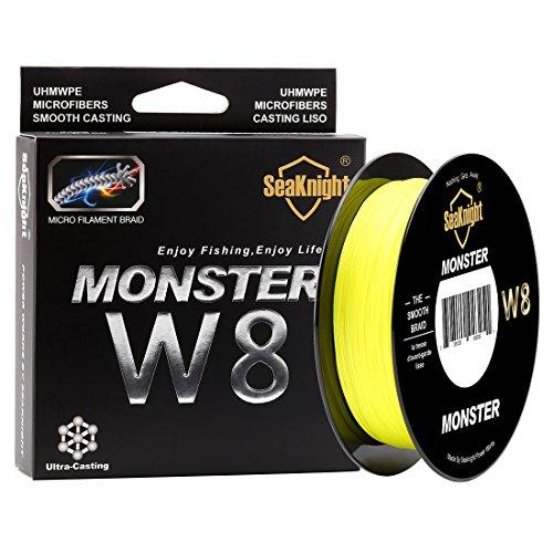 SeaKnight Monster W8geflochtene Angelschnur, 8Fäden / Merhfachfaden, 500m, besonders glatt, Polyethylen, für Meeresangeln, 6,8-45,4kg, Herren, Neongelb