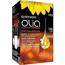 Garnier Olia Colorazione Permanente Senza Ammoniaca, Migliora la Qualità dei Capelli, Copre i Capelli Bianchi, 7.4 Rame Intenso