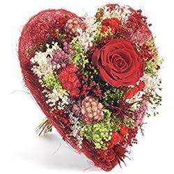 Bouquet Cuore (Rosso) Sanremo fiori essiccati dalla Riviera dei Fiori con rosa stabilizzata ...