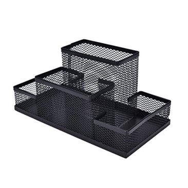 Almand New Arrival Multifuction Black Cube Metal Book Stand Mesh Style Desk Tidy Pencil Metal Pen Holder Office Home Supplies Gift 9