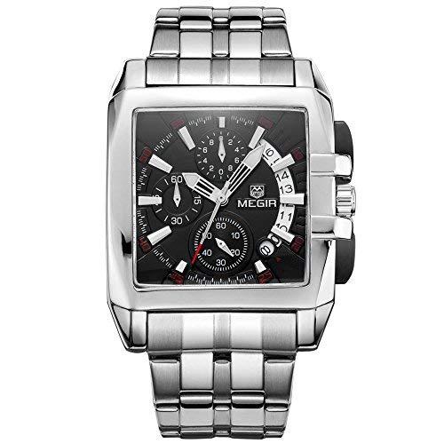 Megir calendario acciaio inox nero quarzo orologi Chornograph luminoso quadrato analogico orologio da polso per uomo