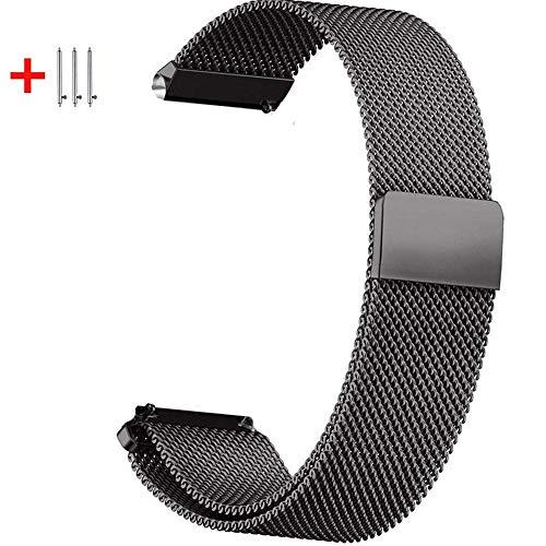 Cinturino di ricambio da 20 mm, compatibile con Samsung Galaxy Watch 2, da 42 mm, Amazfit Bip Ticwatch2/E/S e altri smartwatch da 20 mm e 22 mm, in acciaio inox, con cinturino magnetico resistente