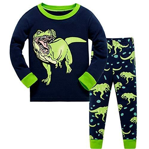 Pijama Niño Invierno-Pijama para Niños-Pijamas de Dinosaurio para Niños-Manga Larga Niño Ropa de algodón Traje Dos Set 7 Años