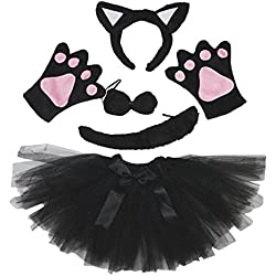 Petitebelle Diadema Bowtie Guantes de cola Tutu niña Disfraz de 5 piezas Un tamaño Gato negro