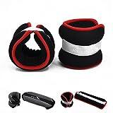 FOURSCOM® 2er Set 2x 1kg Neopren Gewichtsmanschetten Laufgewichte für Hand- und Fußgelenke ( Arm und Bein ) Gewichte Rot