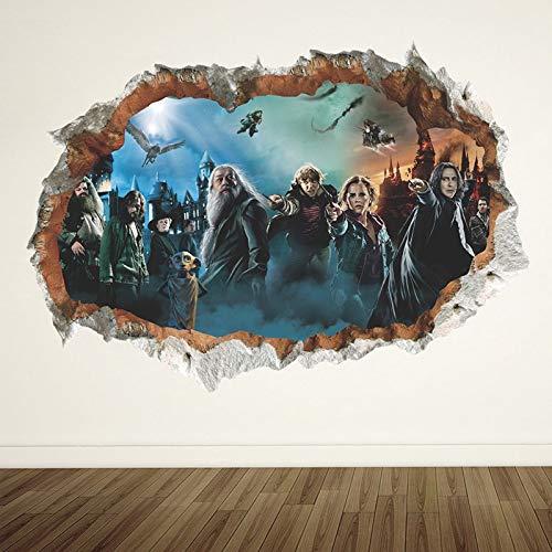 LIZHIOO Adesivo murale 3D Harry Potter Hole Poster Hogwarts Adesivi murali Mondo Magico Decorazioni...