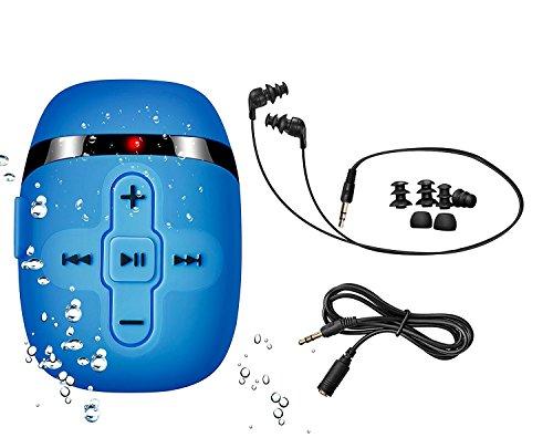 8GB de natación Reproductor de mp3 con Auriculares de Cable Corto (3 Tipo swimbuds), un Cable de extensión más de Audio para el Tipo de Deportes, Shuffle característica (Light Blue)