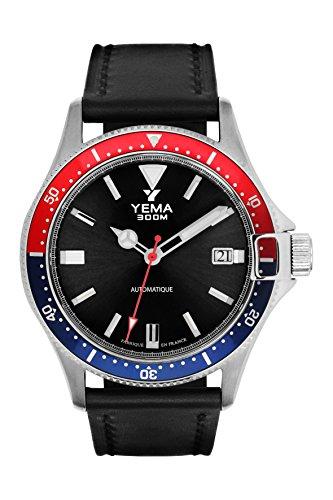 Orologio uomo-Yema-Pro Diver-Automatico-Bracciale Pelle Nero...
