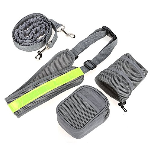 Easylife_GMF - Juego de tracción para correr con bolsa de hervidor y cintura fluorescente para correr o senderismo, color gris