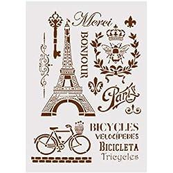 Ogquaton Plantilla de DIY Torre Eiffel Layering Stencils para Paredes Pintura Scrapbooking Álbum Decorativo En Relieve Tarjeta de Papel