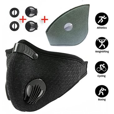 Zedear à la poussière de charbon actif poussière Masque Masque de formation  avec Extra filtre le Drap de coton et Vannes pour gaz d échappement, ... d7a30572ae7