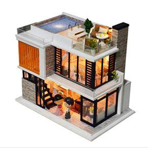 tytlmodel Casa De Muñecas De Dos Capas, Casa De Muñecas En Miniatura De Madera, con Muebles, Juguetes De Casa Hechos A Mano para Niños, Regalo De Cumpleaños