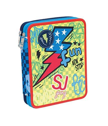 ASTUCCIO scuola SEVEN MAXI - SJ BOY - 2 scomparti - Blu - pennarelli matite gomma ecc.