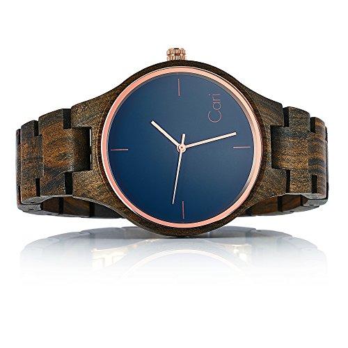 Cari Damen & Herren Holzuhr 40mm mit Schweizer Uhrwerk - Holz-Armbanduhr Oslo-041