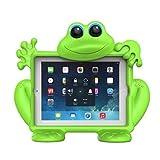 De Koooky, la rana Eddie, funda infantil verde,resistente a las caídas, impactos y rayones con correa para cabezal de coche durante un viaje, compatible con iPad Mini de Apple, Mini Retina, Mini 2 y Mini 3
