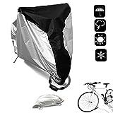 WisFox Copri Bicicletta 190T Telo Copribici Copertura per Bicicletta impermeabile anti polvere sole pioggia vento protezione UV per mountain bike e bici da strada e motocicli con borsa nero e argento XL, 200 x 110 x 70 CM