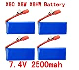 Fytoo 4PCS 7.4V 2500mAh 25C Lipo Battery per Syma X8C X8W X8G...