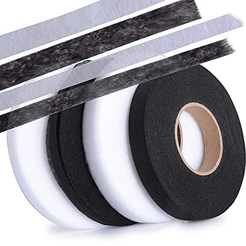 SERWOO (10mm+15mm) 280 Yard 4 Rollen Saumband Bügelband Bügelsaumband Hem Tape Klebeband aufbügelbar Schwarz Weiß für Jeans Hosen Kleidung Vorhang usw