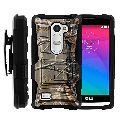 LG Power Case, LG Power Holster, Two Layer Hybrid Armor Hard Cover with Built in Kickstand and Unique Graphic Images for LG Leon C40, H340N, Tribute 2, Power L22C, Destiny L21G, Sunset L33L (T Mobile, Metro PCS, Boost Mobile, Straight Talk, Tracfone) from MINITURTLE | Includes Screen Protector - Fallen Leaves Camouflage