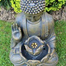 Home Hut Buda Fuente de Agua Fuente de jardín Adorno Decoración al Aire Libre LED Bronce 50 cm