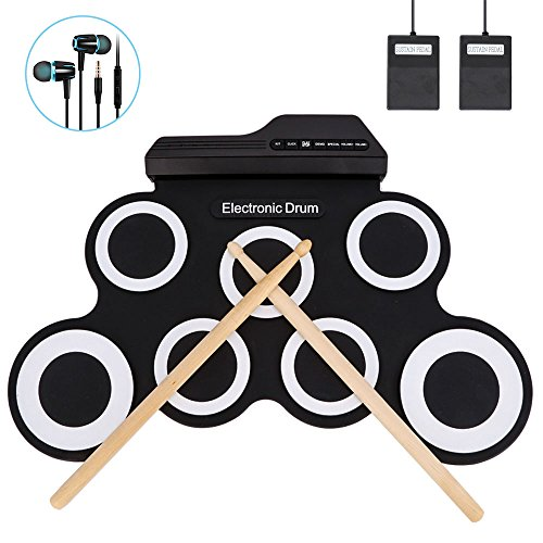 Jacksoo Portable Roll Up Drum, Electronic Digital Drum Pad Kit Instrumento de práctica musical con estructura en altavoz Pedales Foot Drum Sticks para niños Niños principiantes (no incorporado en el a