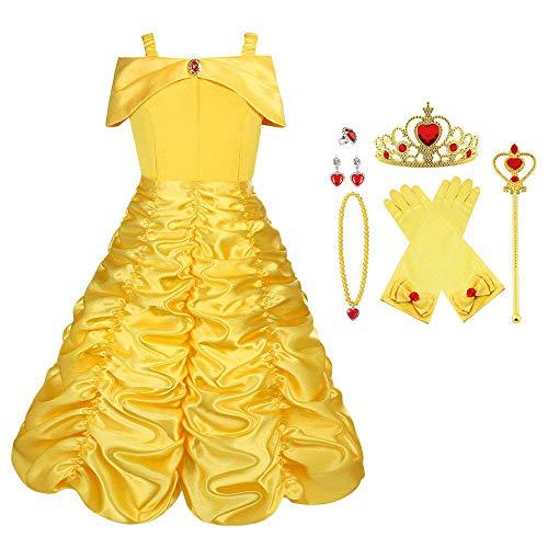 Vicloon Costume da Principessa Belle,9 Pezzi Bambine Principessa Costume Gonna con Tiara, Guanti,...