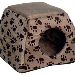 katzeninfo24.de dobar 60171 Ausfaltbare Liegebett und Kuschelhöhle für Katzen und kleine Hunde, 40 x 40 x 30 cm, grau/schwarzbrauner pfotenprint