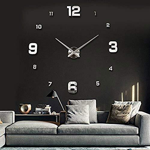 UBAYMAX Orologio da Parete Adesivo,3D Mirror Modern Wall Clock,DIY Large Watch Removibili per Camera/Home Decoration