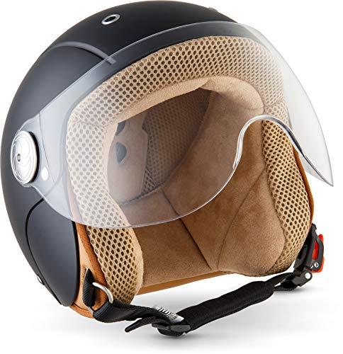 "Soxon® SK-55 \""Night\"" · Kinder-Jet-Helm · Kinder-Helm Motorrad-Helm Roller-Helm Kids Scooter-Helm Vespa Bobber Mofa-Helm Chopper Retro Pilot · ECE Visier Schnellverschluss SlimShell Tasche XS (51-52cm)"