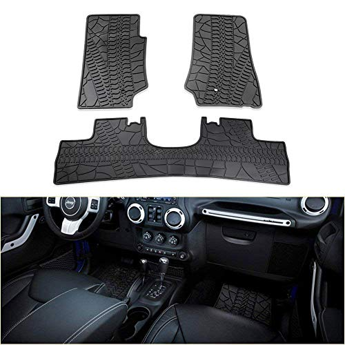 bosmutus Floor Mats Liners Compatible, Front Row And Rear OEM Floor Liner Set 2014-2018 J-e-e-p...