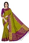 Mimosa Women's Tassar Silk Saree With Blouse Piece (4059-223-Olv-Mej,Olive,Free Size)