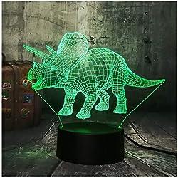 3D Iluminación infantil nocturna Nuevo dinosaurio Jurassic World Triceratops 3D LED luz de la noche lámpara de sueño creativo niños juguete dormitorio decoración del hogar regalo de Navidad
