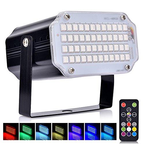 Luci Discoteca LED, AUSHEN 48 LEDs Partylight con telecomando, lampada stroboscopica a LED RGB suono...