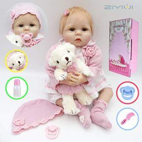 ZIYIUI 55cm 22pulgadas Bebé Realista Reborn Doll Reborn Baby Doll Vinilo de Silicona Suave usando Pink Clothes Lovely Baby Doll