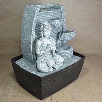 Zen'Light Fontaine d'Intérieur Mur Bouddha Méditation, Plateado, 20 x 15 x 24 cm 4