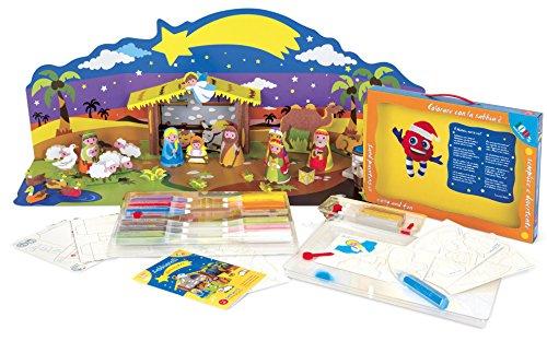 Sabbiarelli Sand-it for Fun Kit Nativity - Set Lavoretti Creativi: Crea e Colora con la Sabbia Il Tuo Presepe, Bambini 3+