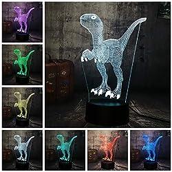 Jurassic World Dinosaur Velociraptor Clever Blue 3D Lámpara De Mesa 7 Cambio De Color Luz De La Noche Decoración De La Habitación Regalo De Navidad Niños Juguete Tzxdbh