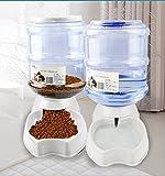 Old Tjikko Automatischer Futterspender Katze,Futterspender und Wasserspender, Haustier Automatischer Wasserspender,Futterautomat Katze,Katzen Hund Schüssel jeweils 3.8 L (Pet Waterer Feeder Set)