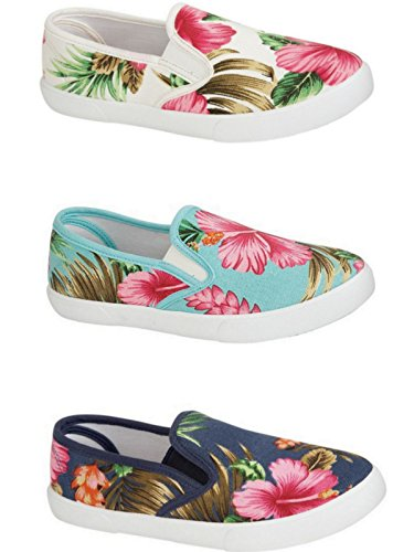 deb6361893 Ladies Floral Tropical Print Canvas Slip On Plimsoll Pumps Casual Trainers  Shoes Size 3-8