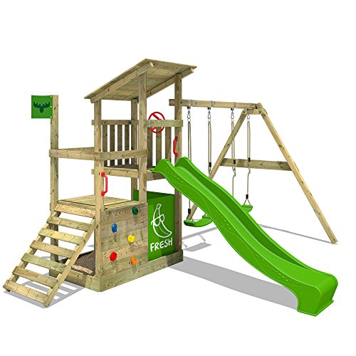 This is a fun kids swing set of all ages and it's constructed with safety in mind with safety caps and sand protection foil in the sand pit. It requires concrete installation but that's what will make it to support up to 6 kids at a go and withstand heavy winds. The wooden frame will last for years and we like the 10-year warranty backing it. Probably the only hiccup is that first time installation may take long, otherwise, you will be happy with your investment in the long run. Overall, the FATMOOSE Wooden Play Centre Playground is arguably the best kids swing and slide set available at mid-range price.
