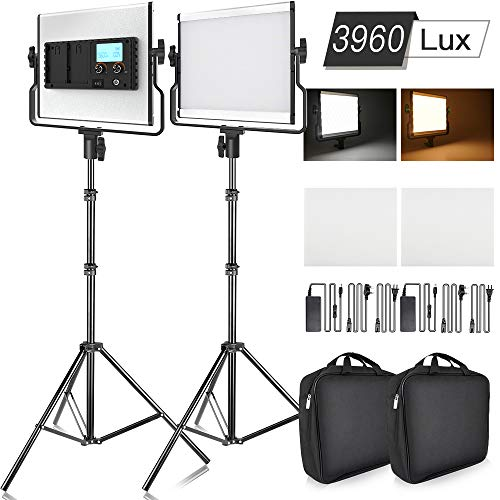 SAMTIAN Luce Video 2 Packs Bi-Color Studio Lights Fotografia Kit di Illuminazione con Display LCD, U...