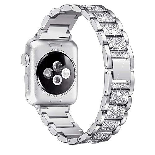 Myada Cinturino per Apple Watch 38mm Acciaio, Cinturino Apple Watch Series 4 40mm Braccialetto di Ricambio in Acciaio Inossidabile Orologio da Polso Band Donna per iWatch Series 4/3/2/1 - Argento