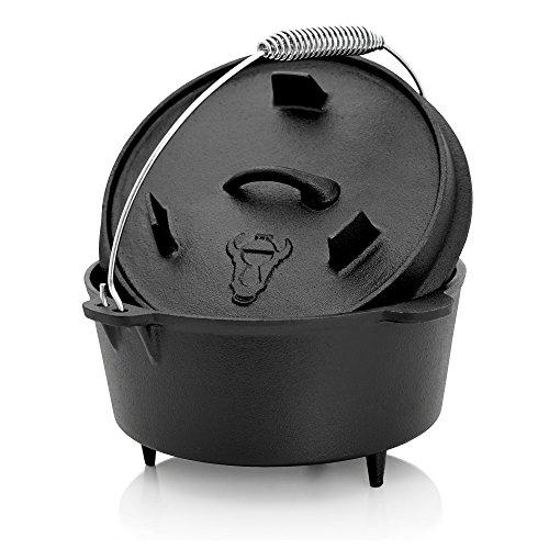 BBQ-Toro Dutch Oven, Forno Olandese in Ghisa, pretrattato, con Sollevatore Coperchio in Acciaio Inox...
