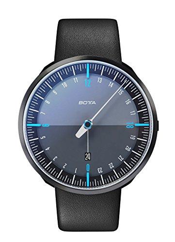 Botta-Design UNO 24 Plus Quarz Armbanduhr - 24H Einzeigeruhr, Edelstahl, Saphirglas Antireflex, Lederband (45 mm, Black Edition)