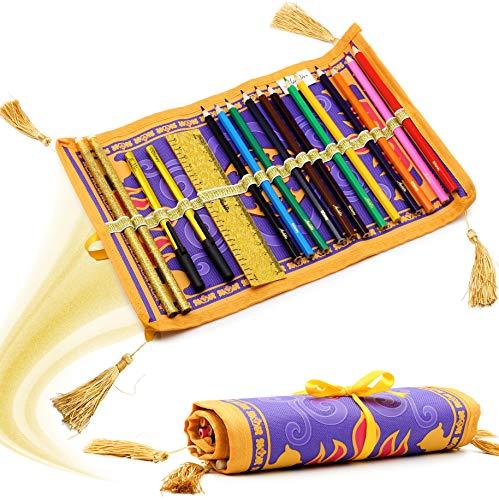 Disney Aladdin Astuccio Roll Up Portapenne Pratico 17 Pezzi Set Matite Colorate Assortite  ...