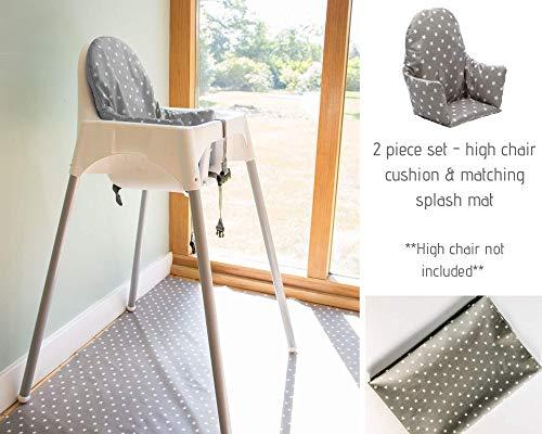 Ikea Antilop, cuscino per seggiolone e tappetino paraspruzzi abbinato, set da 2 pezzi (stelle grigie)
