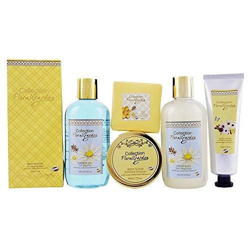 Gloss! Floral Garden Corbeille de Bain Premium Amande au Miel 6 Pièces, Coffret Cadeau-Coffret de bain 22