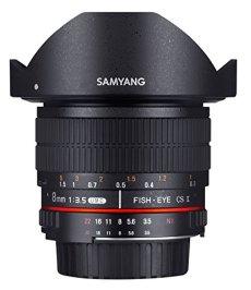 Samyang F1121910101 - Objetivo fotográfico DSLR para Fuji X (Distancia Focal Fija 8mm, Apertura f/3.5-22 UMC, Ojo de Pez, CSII), Negro
