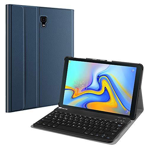 Fintie Bluetooth Tastatur Hülle für Samsung Galaxy Tab A 10.5 SM-T590/T595 Tablet-PC - Ultradünn leicht Schutzhülle mit magnetisch Abnehmbarer drahtloser Deutscher Bluetooth Tastatur, Marineblau