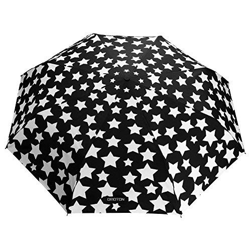 OMOTON Regenschirm mit automatischem Knopf, die Farbe wechseln bei Nässe Windfest, kompakte Design, 8 verstärkten Rippen, in Sterne-Form, schwarz
